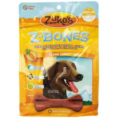 Zuke's Z-Bones Grain-Free Clean Carrot Crunch Dental Chews are designed to clean teeth and freshen breath for dogs while also delivering antioxidants from sources such as spinach, rosemary, alfalfa concentrate and turmeric.