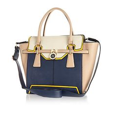 Navy colour block winged tote bag $90.00