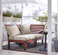 IKEA ÄPPLARÖ loungemöbler i massivt trä.