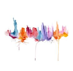 New York Painting Watercolor abstract 13x19 via Etsy