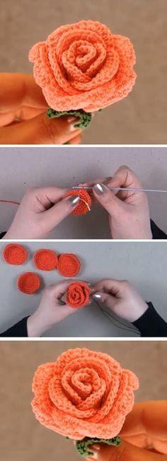 Crochet Rose Pattern by Happy Crochet Puff Flower, Knitted Flowers, Crochet Flower Patterns, Crochet Motif, Crochet Yarn, Easy Crochet, Crochet Stitches, Knitting Patterns, Crochet Roses