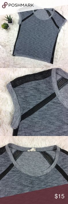 Converse gray top with sheer panels cuffed sleeves Edgy Blouse with sheer panels and cuffed sleeves Converse Tops Tees - Short Sleeve