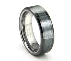 Tungsten Carbide Ring,Grey Meteorite Inlay,Wedding Band,Ring,His,Hers,8mm (30 Letters Free Engraving)