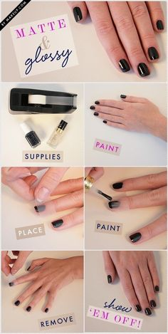Matte/Gloss Nails: Over a dry coat of matte polish, apply tape and then gloss topcoat. #diynails #nailart