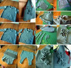 Come trasformare un vecchio maglione infeltrito in borsa. How to create a new bag from old and used pullover.