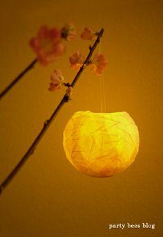 Handmade Paper mache Lantern for Japanese Doll's Festival, called 'Hinamatsuri'. 桃の節句に。手作りペーパーランタン