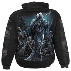 Gothic Skelett Skeleton Hoodie Jacke Kapuze schwarz Horror Punk schwarz