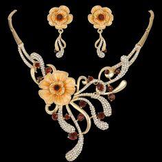Art Deco Flower Necklace Earrings Set Brown Enamel Austrian Crystal Gold Tone | eBay