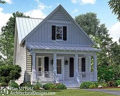 """Cottage House Plan 51715HZ is only 24' wide. And 93'4"""" deep!!!!  4 beds, 2.5 baths. #readywhenyouare"""