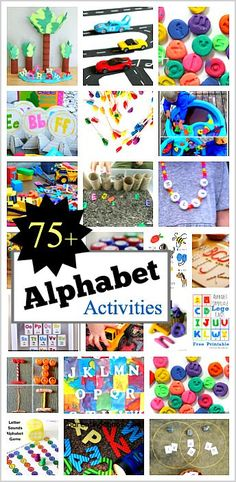 75 Hands-On Ways for Kids to Explore the Alphabet: Practice letter recognition letter sounds letter writing and explore the ABC's with sensory play! Alphabet Activities, Craft Activities For Kids, Literacy Activities, Preschool Activities, Educational Activities, Teaching The Alphabet, Teaching Kids, Early Learning, Kids Learning