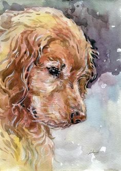 "Original Artwork ""Golden Retriever"" Watercolor Painting Dog Puppy"