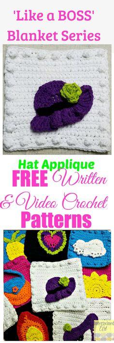 "Free written pattern and video tutorial for a Crochet Hat Applique. ""Like a Boss"" Blanket Series Crochet Hat Square Pattern."