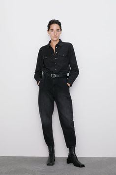 Mid-rise jeans with interior elastic waist. Hidden side in-seam pockets. Patch pockets at front. Zara, Fall Winter Outfits, Autumn Winter Fashion, Baggy, Jeans, Casual Outfits, Fashion Outfits, Fashion Portfolio, Denim Jumpsuit