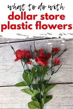 Make dollar tree plastic flowers look high end with this easy and quick home decor DIY idea for your living room or shelf decor. Dollar Store Crafts, Dollar Stores, Diy Wall Decor, Diy Home Decor, Weekend Crafts, Dollar Tree Decor, Mirror Wall Stickers, Plastic Flowers, Diy Craft Projects
