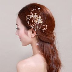 Bridal Hair Combs BlueTop Handmade Elegant Delicate Gorgeous Royal Style Cirrus Vine Design Beaded Tassel Crystal Pearl Jewelry Rhinestones Engagement Wedding Party Prom Bridesmaid Hair Accessories Hairpieces Hair Pins Clip *** Check this awesome product by going to the link at the image.
