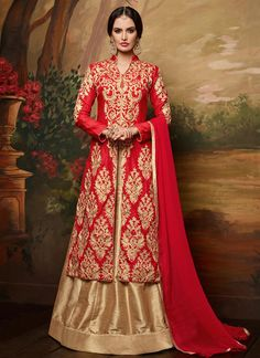 Red Art Silk Long Choli Lehenga