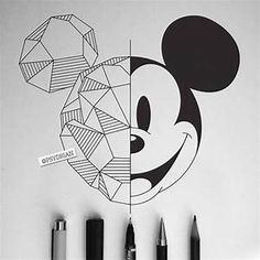 Disney Art Geometric Mickey Mouse - - Beste Pins - all - Z Mesh, A Mickey Mouse Drawings, Disney Drawings, Cartoon Drawings, Mickey Mouse Art, Mickey Drawing, Mickey Mouse Sketch, Drawing Disney, Pencil Art Drawings, Cute Drawings