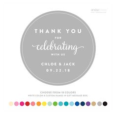 Personalized Thank You For Celebrating With Us Circle Label Stickers