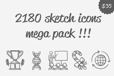 2180 vector sketch icons mega pack by Vige on @creativemarket