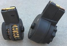 X-Products provides a series of rugged single-stack, aluminum body drum magazines for AR-15 pattern platforms. The two magazines shown here are the 50-round X-15-S Chevron for 5.56 NATO/.223 Rem rifles (Left) and the 50-round X-25 magazine for SR25/DPMS pattern rifles chambered in 7.62 NATO/.308 Win (Right). Both drum calibers are shorter than standard 30-round box magazines. Customers can choose from solid-side drums to protect ammunition from exposure to the elements or skeletonized models