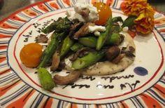 Asparagus, mushroom & roasted tomato tart w/ goat cheese