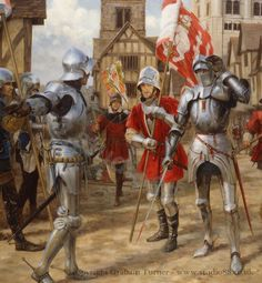 Detail from Graham Turner's Battle of st Albans.Fought on the 22nd May 1455, this was the first battle of what would become known as the Wars of the Roses.