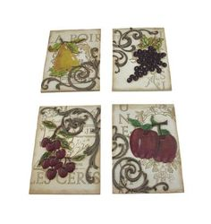 Set of 4 Classic Fruit Themed Stoneware Tile Wall Plaques
