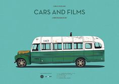 Poster of the bus from Into the Wild. Illustration Jesús Prudencio. Cars And Films. #Cars #carsandfilms #jesusprudencio #bus #intothewild #prints #illustration #movieposters #minimalmovieposters