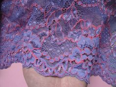 8 1/4 20.7 cm Wide Lilac Hot Pink Embroidered by FabricBistro