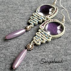 Soutache earrings in shades of blue and violet with clear glass cabochons