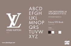 fashion logo Louis Vuitton - Futura STD Book (Futura Headline EF Pro Book) e Times Typo Logo, Typography Fonts, Typography Design, Lettering, Ar Logo, Fashion Typography, Fashion Branding, Fashion Fonts, Cl Design