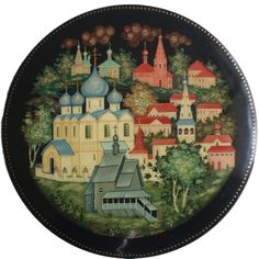 A Kholuy box depicting the town of Suzdal, Russia - a city near Moscow where PETER THE GREAT'S 1st wife EVDOKIYA LOPUKHINA ended up when he divorced her