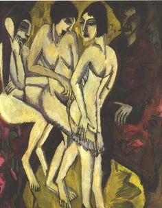 black-celluloid: Ernst Kirchner Judgement of Paris, 1913