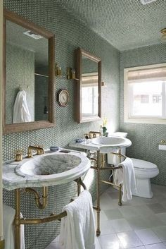 Anything but bland: non-white bathroom inspiration: Use a subtle yet textured wall tile in a muted colour for a hint of colour in an otherwise classic and elegant bathroom.