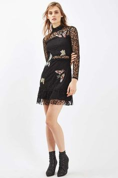 Mesh skater dress with black stars with embellished birds. #Topshop