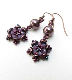 Kit / Earrings Stine with  Superduo and Burgundy Swarovski Elements.