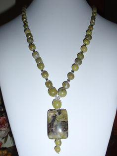 Dragon Blood Jasper Jade gemstone Necklace Silver Toggle flower bead caps. $19.99, via Etsy.  BaileyBeadz