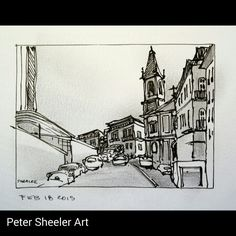 "Small Urban sketch painted on location in Porto. As usual, neglected to take note of street name. 2.5x""x3.5"" inch  www.ebay.ca/usr/sheelerart . #city #town #cityscape #urban #buildings #landscape #street #art #artist #original #watercolor #watercolour #miniature #painting #ebay #paintingaday #ink #pen #waterbrush #winsornewtonmarker #pleinaire #urbansketch #urbansketchers"