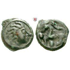 Gallien, Senones, Potin 1.Jh. v.Chr., f.ss: AE-Potin 20 mm 1.Jh. v.Chr. Kopf r. / Pferd l., im Feld Punkte. Delestrée-Tache 2640;… #coins
