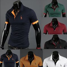 HOT!Free Shipping 2013 New Men's Casual Slim Fit Stylish Short-Sleeve Shirt Cotton T-shirt Size:M-XXL $9.90