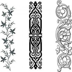Inspiration - transfer pictures with lace, line pattern PaGi Decoplage Islamic Art Pattern, Pattern Art, Pattern Design, Border Embroidery Designs, Embroidery Motifs, Wood Carving Designs, Stencil Designs, Engraving Art, Ornaments Design
