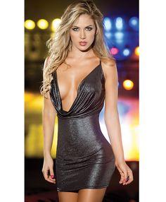 Metallic Low Front Dress C5266