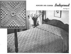 Vintage 1940s Crochet blanket Pattern, crochet Bedspread pattern, PDF pattern, instant download