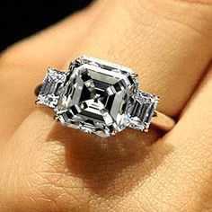 Asscher Cut H VS2 Certified Diamond Three 3 Stone Engagement Ring White Gold 18K