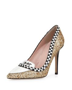 kate spade new york  lexi taxi glitter/patent pump