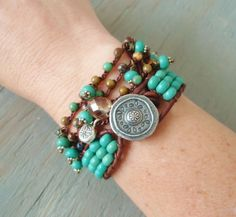 "RESERVED for CHANCHAI- Zen & Moroccan boho crochet 3x wrap bracelet anklet necklace ''Shimmy"" turquoise dangles, Thai silver, bohemian"