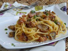 pasta alla carbonara con funghi,ricetta primo piatto della cucina romana rivisitato.primo piatto appetitoso facile e veloce da fare.Primo piatto con funghi