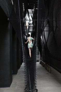 """Numen/For Use combines """"height and wobbliness"""" in net staircase for Linz gallery Architecture Design, Landscape Architecture, H Design, Exhibition Space, Installation Art, Interactive Installation, Interactive Art, Art Installations, Public Art"""