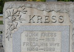 Photo Gallery of Cemetery Symbolism: Olive Branch /  Tombstone of John Kress (1850 - 1919) and his wife, Freda (1856 - 1929), Robinson's Run Cemetery, South Fayette Township, Pennsylvania. The olive branch, often depicted in the mouth of a dove, symbolizes peace - that the soul has departed in the peace of God. The association...