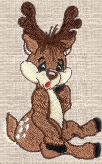 Threadsketches' set Reindeer games- Christmas machine embroidery design, deer sitting